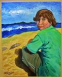 """""""Beach"""" 24""""W x 30""""H x 1.5""""D Acrylics on canvas"""