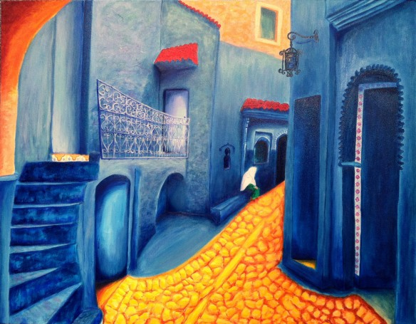 """Blue Morocco"" $4,000 plus shipping 24""H x 30""W x 1.5""D Oils over acrylics on canvas. Has wire ready to hang."