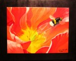 """""""Bee and Poppy"""" 16""""H x 20""""W acrylics on double canvas. Has wire ready to hang."""
