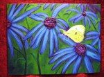 """""""Blue Flowers"""" 12""""H x 16""""W Acrylics and mixed media on canvas panel"""