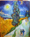 """""""Copying Van Gogh"""" 30""""H x 24""""W x 0.75""""D Acrylics on canvas Has wire ready to hang."""