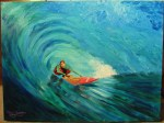 """""""Surfer"""" 30""""H x 40""""W x 1.5""""D Acrylics on canvas. Has wire ready to hang."""