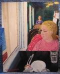 """""""Cliff House"""" 16""""W x 20""""H x 1.5""""D Acrylics on canvas"""