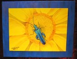 """""""Blue bug on yellow flower"""" Acrylic on double canvas 16""""H x 20""""W Ready to hang"""