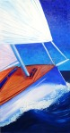 """""""Sailing"""" 48""""H x 24""""W x 0.75""""D Oils on canvas. Has wire ready to hang."""