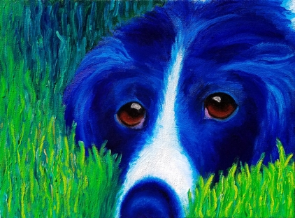 """Blue Dog in Grass""Oil on Canvas9″H x 12″W x 1.5″D"