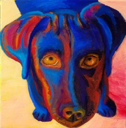"""Blue Dog Looking Up""Oil on Canvas 10″H x 10″W x 1.5″D"