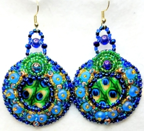 Peacock blue beaded embroidery earrings(Joelle Burnette)