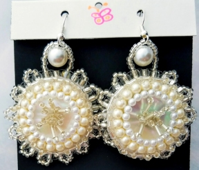 Beach wedding theme beaded embroideryearrings (Joelle Burnette)