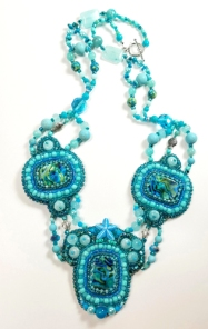Ocean theme necklacebeaded embroidery(Joelle Burnette)