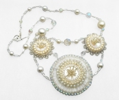 Beach wedding theme beaded embroidery necklace(Joelle Burnette)