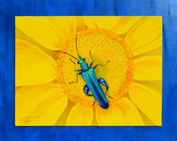 "SOLD: ""Blue Bug on Yellow Flower"""