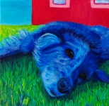 "SOLD: ""Blue Dog""Acrylic on Canvas12″H x 12″W x 1.5″D"