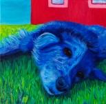 "SOLD: ""Blue Dog""Acrylic on Canvas12″H x 12″W x 1.5″D"
