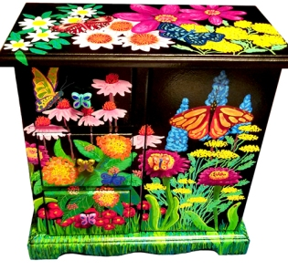 """Butterfly Garden"" Upcycled Jewelry Cabinet"