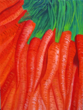 "SOLD: ""Carrots""Oil on canvas board12″ x 9″ x 0.125″"