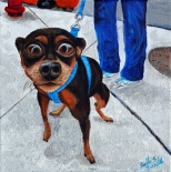 """City Sidewalk Dog""Acrylic on Canvas10″H x 10″W x 1.5″D"