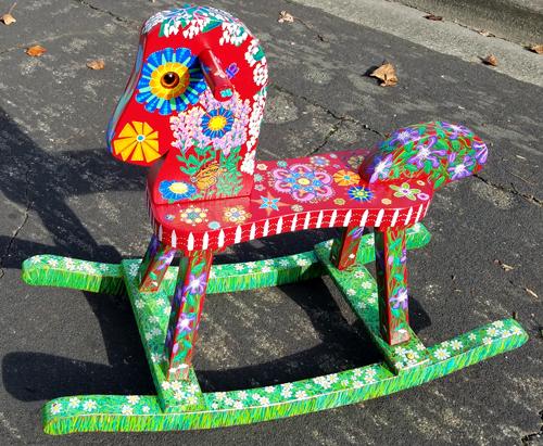 """Flower Garden"" Upcycled Rocking Horse"