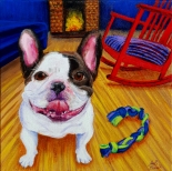 """SOLD: """"French Bulldog and Rocking Chair""""Acrylic on Canvas12″H x 12″W x 1.5″D"""