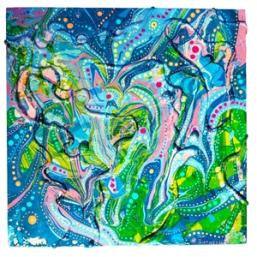 "Galaxy Paintingmixed media on wood canvas6"" x 6"" x 1.5"""
