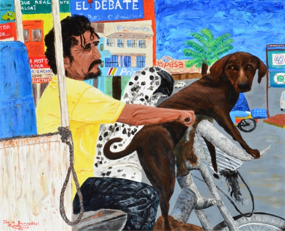 """Mexican Dogs Ride"" Acrylic on canvas24″H x 30″W x 1.5″D"