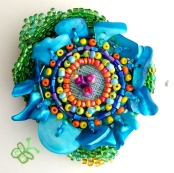 """Blue Flower pin""Beaded Embroidery broach (Joelle Burnette)"