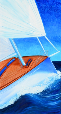 """Sailing""Oil on canvas 48″H x 24″W x 0.75″D"