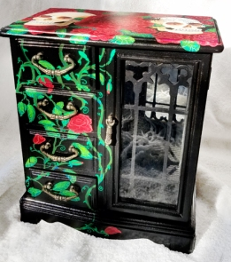 """Skulls and Roses"" Upcycled jewelry cabinet"