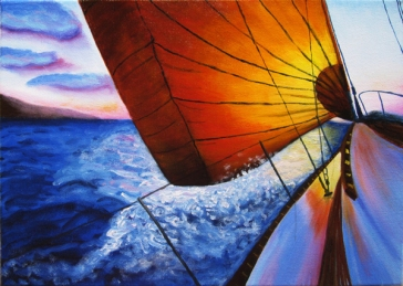 """Sunset Sailing""Oil on canvas 12″H x 16″W x 0.75″D"