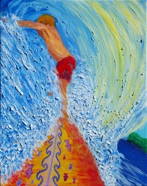 """Surfer on Fish Board""Acrylic on canvas"
