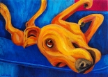 """Yellow Dog on Couch"" Acrylic on Canvas 11″H x 14″W x 1.5″D"